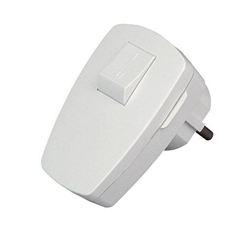 Kopp 170402006 Schutzkontakt-Stecker mit Schalter, Arktis-weiß