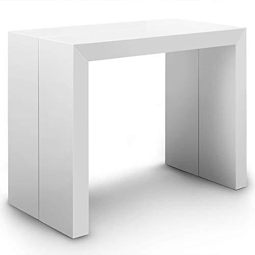Menzzo ATL8027 Contemporain Nassau XL Table Console Bois Laqué Blanc 50/100/150/200/250 x 100 x 75 cm