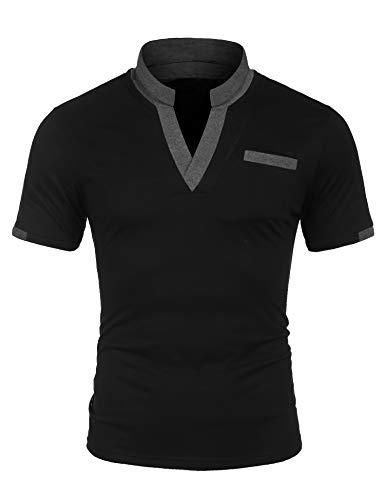 Coshow Herren Poloshirt, Schwarz, L