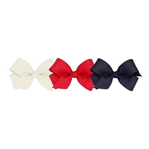Wee Ones Girls' Mini Bow 3 pc Set Solid Grosgrain Variety Pack on a WeeStay Clip - Antique White, Red, and Navy