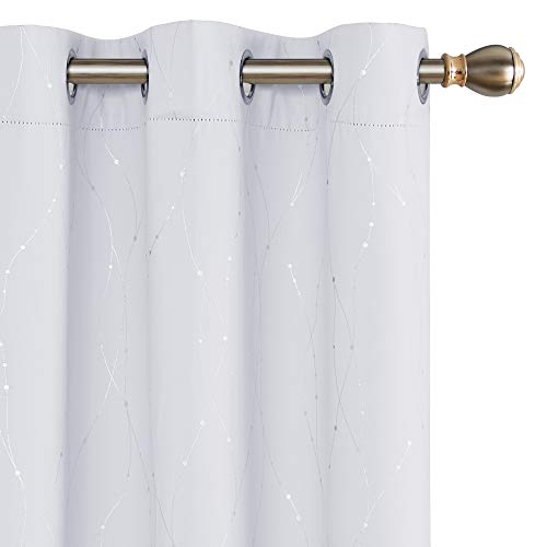 Deconovo Printed White Blackout Curtains Wave Line with Dots Grommet Blackout Window Curtains for Bedroom 38W x 45L Inch Greyish White 2 Panels