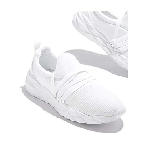 HaoLin Zapatillas Deportivas De Gimnasio con Cordones para Caminar Zapatillas para Correr Punta Redonda Zapatos Casuales Transpirables Antideslizantes para Mujer,White-40