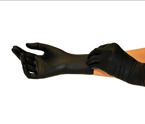 Nitrilhandschuhe 100 Stück Box (M, Schwarz) Einweghandschuhe, Einmalhandschuhe, Untersuchungshandschuhe, Nitril Handschuhe, puderfrei, ohne Latex, unsteril, latexfrei, disposible gloves, black