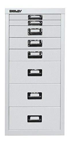 BISLEY MultiDrawer, 29er Serie, DIN A4, 8 Schubladen, Metall, 696 Verkehrsweiß, 38 x 27.9 x 59 cm