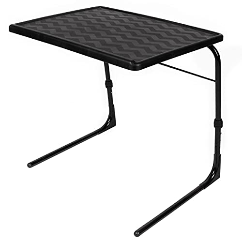 Table-Mate XL Plus Stable-Tech Folding TV Tray Tables - Lightweight Adjustable 6 Height 4 Tilt Angle Adjustments - TV Dinner Tray with Compact Storage (Black)