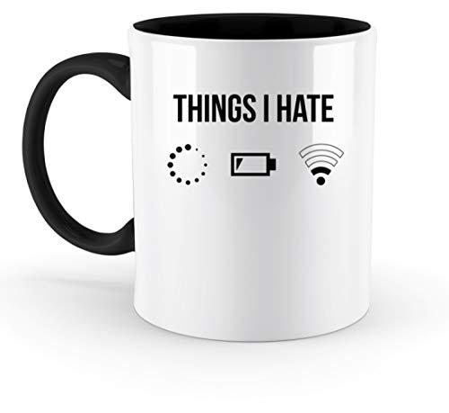 PlimPlom Things I Hate Lustige Programmierer Kaffeetasse Computer Informatiker Geschenkidee - Zweifarbige Tasse -330ml-Schwarz
