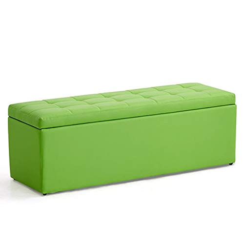 Yxsd Elegante banco de almacenamiento rectangular de cuero sintético, taburete de almacenamiento, taburete de cuero sintético, asiento y banco versátil para ahorrar espacio (color #4, tamaño: L)