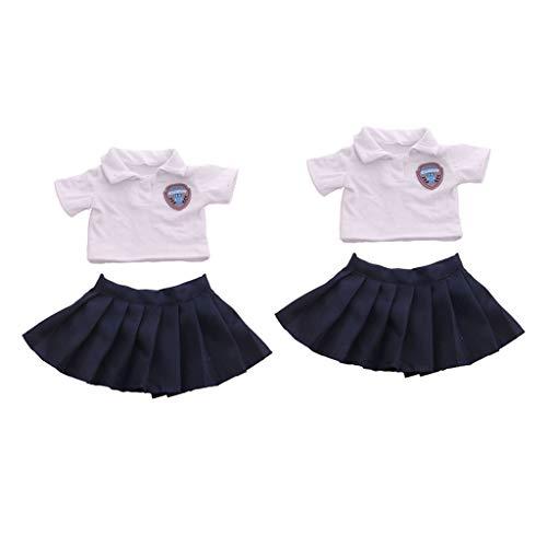 Conjunto de 2 conjuntos de camiseta e saia paltada Tongina para boneca American Femal Girl de 45,72 cm, brinquedos de faz de conta para crianças