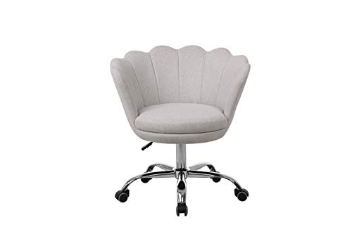 Yiying Swivel Shell Chair for Living Room, Accent Lounge Chair with Wheels for Bedroom Makeup, Modern Leisure Upholstered Arm Chair (Beige)