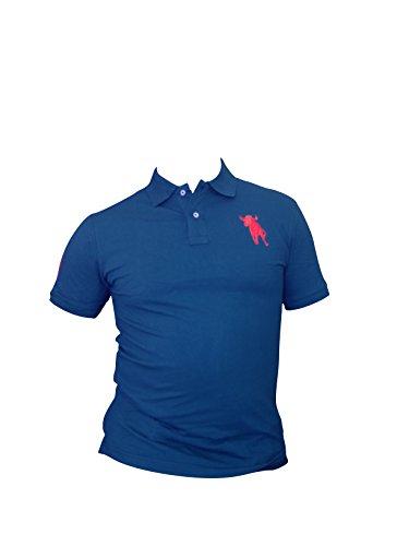 Bruyère et Arraché pour Homme d'été à Manches Courtes Fin à Custom Designer Coton Polo, Bleu Royal, Large