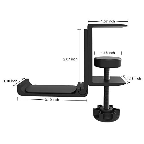 Foldable Headphone Stand Hanger Holder Bracket Aluminum Headset Soundbar Stand Clamp Hook Under Desk Space Save Mount Fold Upward Not in Use, Unive   rsal Fit All Headphones, Black