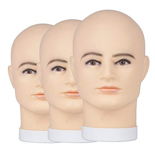 Mall Mannequin Head Mâle Moule De Tête D'affichage De PVC Convient Pour Les Masques De Lunettes Chapeau De Perruque Durable Pratiques x3