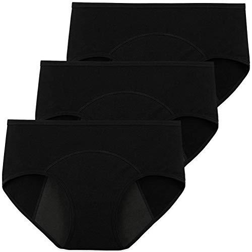 INNERSY Damen Menstruationsunterwäsche Baumwolle Pantys Schwarz Periodenslips 3er Pack (EU 48, Schwarz)