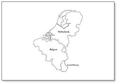 Vereenvoudigde kaart van de Europese Benelux Staten (België, Nederland, Luxemburg) koelkastmagneet