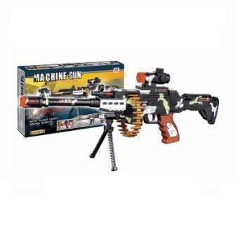 Camo Toy Machine Gun with Scope, Stand and Carrying Strap Flashing Lights, Sounds and Unique Revolving Rounds - Thrilling 24 Inch, Pistolas de Jugete Gun Toy - Great Gift Idea for Boys and Girls