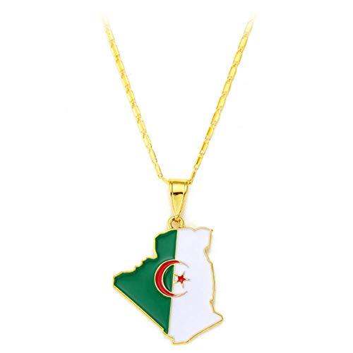 Ccyyy Hanger Ketting/Algerije Kaart Ketting/Unisex Algerije Vlag Drops Gouden Ketting