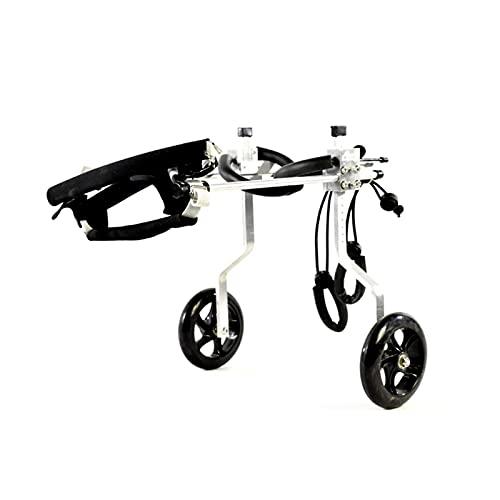 8 tamaños para perros medianos ajustables de acero inoxidable para mascotas y gatos, silla de ruedas para perros discapacitados, silla de ruedas de 2 ruedas (1 kg a 60 kg) (tamaño: S, color: plata)