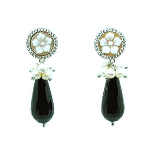 Onyx und Kamee Ohrringe mit Perlen und Zirkonia, 925er-Silber, rhodiniert, handgefertigt mit griechischem Turm