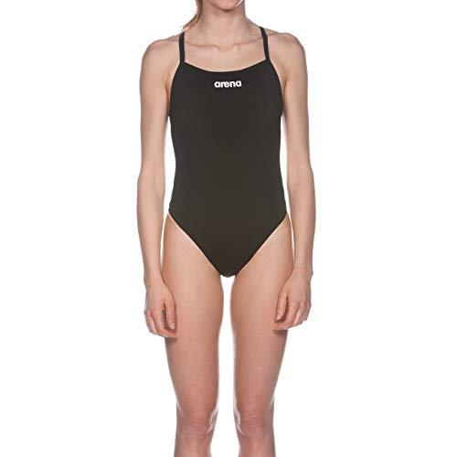 arena Damen Trainings Profi Badeanzug Solid Lighttech High (Schnelltrocknend, UV-Schutz, Chlorresistent), schwarz (Black-White), 36