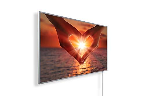 Könighaus Fern Infrarotheizung - Bildheizung in HD Qualität mit TÜV/GS - 200+ Bilder – mit Smart Home Thermostat, steuerbar mit APP für Handy- 1000 Watt (47. Herz Sonnenuntergang Meer)