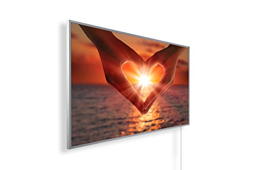 Könighaus Bildheizung (Infrarotheizung mit hochauflösendem Motiv) 5 Jahre Garantie (600-Sonnenuntergang Hand Herz) - inkl. Thermostat