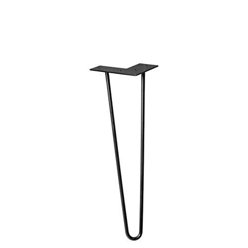 WAGNER Möbelbein/Tischbein/Möbelfuß - HAIRPIN LEG - Retro Style - Stahl pulverbeschichtet schwarz, 12 x 12 x 40 cm, Bein konisch/schräg verlaufend, mit integrierter Anschraubplatte - 12824001