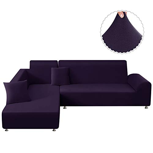 TAOCOCO Funda para sofá en Forma de L Funda elástica elástica 2 Juegos para 3 Asientos 3 Asientos, con Funda de cojín de 2 Piezas (Morado Oscuro)