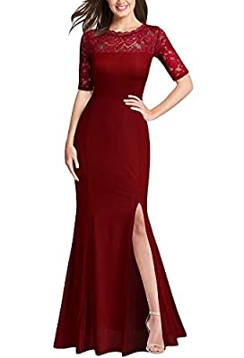 FORTRIC Women Floral Lace Wedding Prom Party Evening Dress Burgundy Small