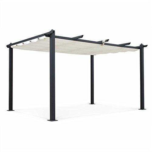 Alice's Garden Pergola Aluminium - Condate 3x4m - Toile écrue - Tonnelle idéale pour Votre terrasse. Toit Retractable. Toile coulissante. Pieds Larges et Robustes