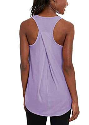 Mippo Workout Tank Tops for Women Yoga Running Shirts High Neck Athletic Racerback Tank Tops Sleeveless Fitness Active Sports Exercise Tops Womens Workout Tops Muscle Tanks for Women Purple M
