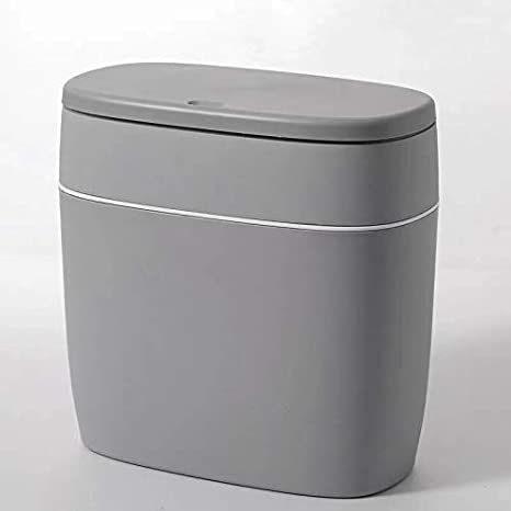 Amazon Com Cy Craft Plastic Trash Can With Lid 10l 2 6 Gallon Garbage Can Modern Grey Waste Basket Thin Trash Cans For Bathroom Living Room Office Kitchen And Narrow Spaces Home Kitchen