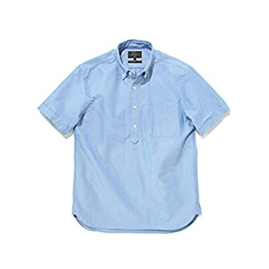 (ビームス)BEAMS/半袖シャツ PLUS プルオーバー アメリカンオックスフォード ボタンダウン ショートスリーブシャツ メンズ BLUE M