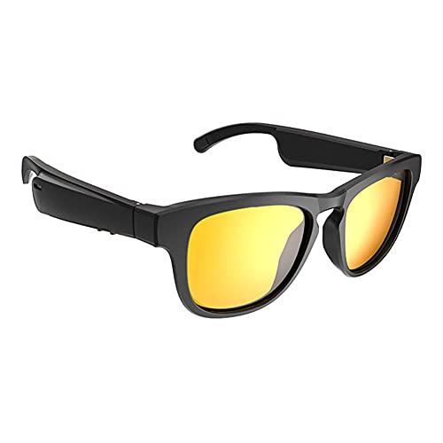 Gafas de conducción ósea Gafas inteligentes Bluetooth inalámbricas A prueba de sudor Impermeable Audio direccional Auriculares deportivos Gafas de sol polarizadas anti UV para iOS Android (Yellow)