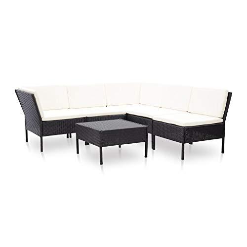 vidaXL Set Muebles de Jardín 6 Piezas y Cojines Patio Terraza Conjunto Casa Exterior Comedor Aire Libre Mesa Silla Asientos Ratán Sintético Negro
