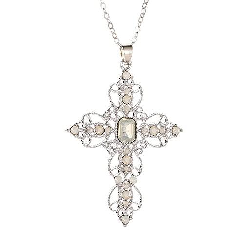 Collares Moda clásica cruz caliente colgante collar bohemio hueco collar de diamantes de imitación clavícula cadena mujer joyería-blanco