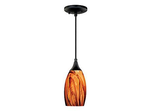 Vaxcel P0177 Milano Mini Pendant Smoky Fire Glass, Oil Rubbed Bronze Finish Art Glass Copper Pendant