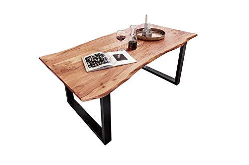 SAM Esszimmertisch 140x80 cm Quinn, echte Baumkante, naturfarben, massiver Esstisch aus Akazienholz, Metallbeine Schwarz, Baumkantentisch