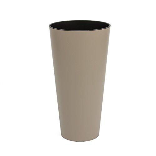 Edle Blumenvase Blumentopf Pflanzeinsatz Pflanzsäule matt grau beige TUBUS Kunststoff h-570 m