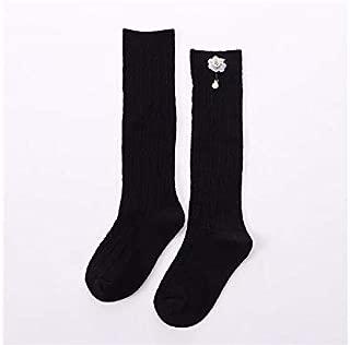 Lovely Socks Children Cotton Socks Kids Spring and Autumn Little Flowers Dolls Anti-Slip Mid Tube Socks (Black) Newborn Sock (Color : Black)