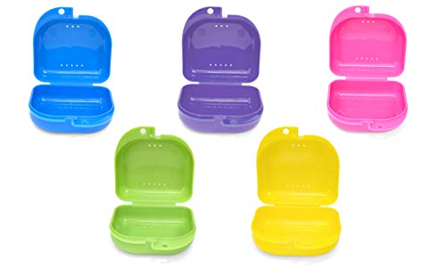 Retainer Case  5pcs Durable Large Retainer Cases with Ventilation Holes For Orthodontic Retainer, Invisalign, Mouth Guard and Denture Storage. Tight Snap Lock, Color May Varies