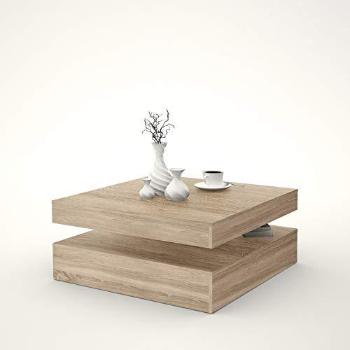 FORTE Wohnzimmer Couchtisch Wohnzimmertisch, Holzwerkstoff, 78 (93) x 34,3 x 78 cm, mit Ablagefläche und rotierender Tischplatte, Sonoma Eiche Dekor, One Size