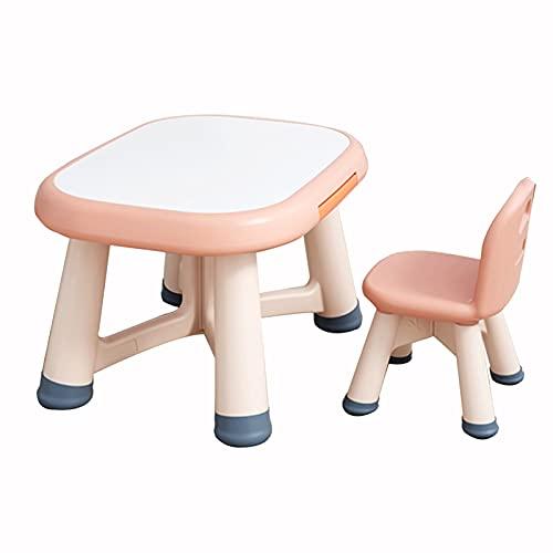 Mesa y S illa para Niños Conjunto de Mesa y Silla para niños, Mesa de Actividad de bebé de Pintura Multifuncional, sin Necesidad de ensamblar, Puede soportar 20kg (Color : Pink)