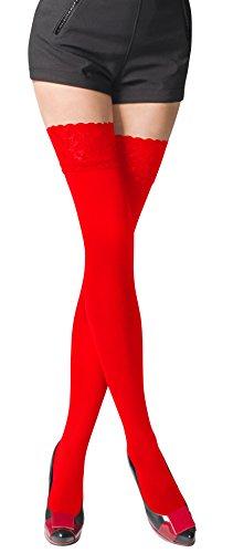 Romartex warme halterlose 80 DEN Mikrofaser Strümpfe mit Spitze, blickdicht, XL, rot