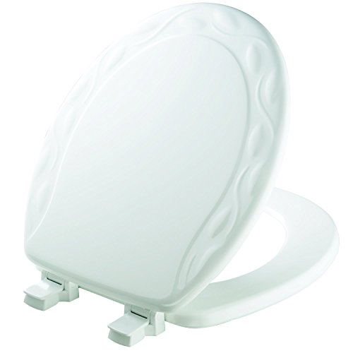 MAYFAIR 34ECA 000 Sculptured Ivy Toilet Seat will Never Loosen and Easily Remove, ROUND, Durable Enameled Wood, White