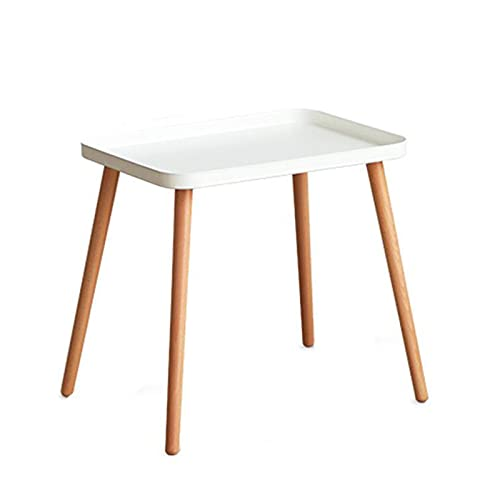 JCNFA Tavolini da caffè Tavolino laterale vassoio in acciaio al carbonio,In Legno Con Gamba Rimovibile,Tavolino impermeabile Per lo stoccaggio dell'ufficio della (Size:19.29*13.38*18.50in,Color:white)