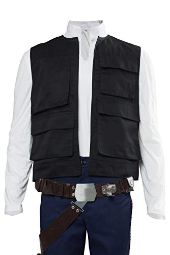 Cosplaysky Herren Halloween Weste für Han Solo Kostüm Gürtel kompatibel Droid Call Kanister - Schwarz - Large