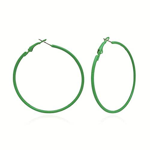XAOQW Orecchini a Cerchio di Moda Impostare Grandi Orecchini Rotondi Nero Bianco Rosso Moda Signore Gioielli Ragazze Punk Ear Clip Orecchini-Verde