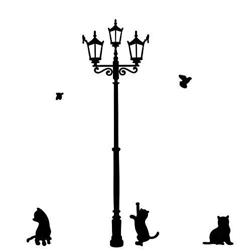 Stonges Schwarze Katze unter Streetlight Design Wandaufkleber Kindergarten Kinderzimmer Zimmer Wand Kunst Dekor Vinyl Wandtattoo Wandbil