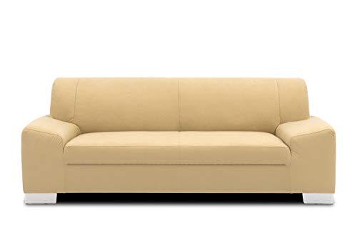 DOMO Collection Alisson Sofa, 3er Couch, 3-Sitzer, 3er Garnitur, 199x83x75 cm, Polstergarnitur in beige