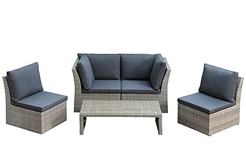 Dehner Gartenmöbel Geflecht-Lounge Rom, inkl. Polster, 5-teilig, Aluminium/Kunststoff/Polyester, grau/braun